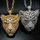 Leopard Head Pendant Chain Necklace Gold Silver Mens Animal Cat Jewelry