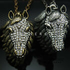 Horse Head Pendant Chain Necklace Animal Jewelry Gold Silver Crystals