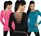 LONG PULL FIN FEMME DOS OUVERT EN V FASHION GLAMOUR CHIC TOP SEXY T.36/38 S/M