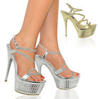 LADIES WOMENS HIGH HEELS PLATFORM STRAPPY PARTY PROM STILETTO SANDALS SHOES SIZE