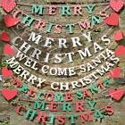 Merry Christmas Garland Bunting Banner Welcome Santa Garland Bunting Red Hearts