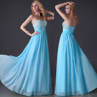 BEADED Long Wedding Bridesmaid Prom Gown Dress Evening Party Cocktail Ball Dress