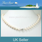 Classic White Freshwater Pearl Necklace with Sterling Silver Magnetic Clasp