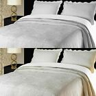 Embroidered Cotton Bedspread, Throw, Single Double King, White & Cream
