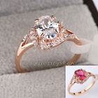 B1-R676 Fashion Simulated Gemstone Ring 18K GP Swarovski Crystal Pave Prong-set