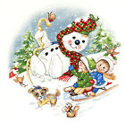 Ceramic Decals Christmas PLAY TIME Snowman Sled Children 2 Designs image