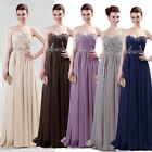 Sexy Long Chiffon Bridesmaid Evening Cocktail Formal Xmas Party Ball Gowns Dress