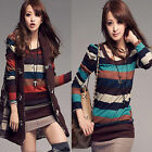 Fashion Womens Colorful Striped Long Sleeve Crew Neck Casual T-shirt Tops Blouse
