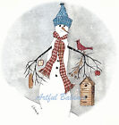 Ceramic Decals Winter Christmas Country Snowman Birdhouse Cardinal image