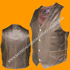 Mens Classic Retro Brown Buffalo Leather Vest Club Motorcycle Biker w/Side Laces