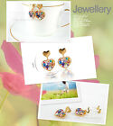 Cute Fashion 18K GP Colorful Heart Earring Use Swarovski Crystal 2038 AF