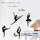 4 Pcs  Ballerina Wall Stickers Vinyl Wall Decal Removable Art Home Decor Quotes