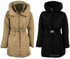 Women's Padded Quilted Belted Puffer Beige Black Ladies Winter Coat Jacket 8-14