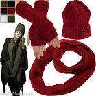 Pia Rossini Ladies Knitted Winter Hat Long Fingerless Gloves And Scarf Set Snood