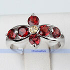 Beautiful Genuine Round Top Rich Red Garnet Silver Ring