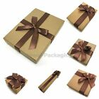 6Pcs Brown Big Bow Box Bracelet Bangle Ring Jewellery Gift Box #45 Size Choice