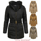 LADIES WOMENS QUILTED PADDED PUFFER COLLARED WARM WINTER PARKA JACKET COAT 8-14