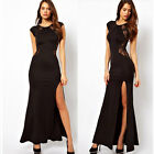 Sexy Womens Long Sleeve V Neck Lace Evening Cocktail Club Party Long Maxi Dress
