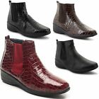 New Ladies Chelsea Low Wedge Heel Comfy Twin Gusset Ankle Boots Size UK 3-8