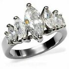 Women's Graduated Marquise cz Stainless Steel Engagement Anniversary Band Ring