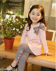 FREE SHIPPING P112 Girls Pink T-shirt Dress + Black Legging Set SZ 2-3-4-5-6-7T