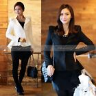Vintage Womens Elegant Swallow Tail Suits Power Blazer Peak Shoulder Coat Jacket