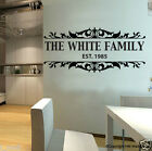 PERSONALISE / CUSTOMISE Family Name & Year Removable Wall Decal / sticker
