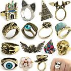 MULTI STYLE Antique Silver Bronze Punk Rock Gothic Ring Mask Skull Rose Wing NEW