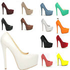 New Womens Point Womens Platform 14CM High Heels Stiletto Court Shoes Size 2-9