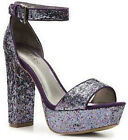 $115 Glitter Charles David Harmonious Ankle Platform Chunky Heels Shoes 7 Party