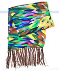 Fashion 100% Silk Scarf 2-Layer Oil Painting Multicolor