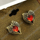 New Retro Bronze Red Rhinestone Crystal Heart Love Wing Stud Earrings