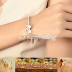 Stylish Ladies' Gold Plated Clover Pendant Chain Bracelet Bangles Wristband NEW