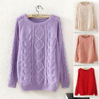 Vintage Patterned Womens Long Sleeve Casual Loose Pullover Knitted Sweater Top