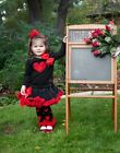 Girls Black Red Pettiskirt Red Heart Black Long Sleeves Top 2pc Party Dress 1-7Y