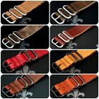 Leather Watch Strap Band Wrap Military 5 Ring S/S & PVD Many Colours & Sizes