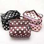 New Retro Women Dot Makeup Cosmetic Set Beauty Case Large 2 Layers Toiletry Bag