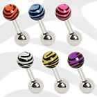 New Surgical Steel Tragus Cartilage Bar with Stud Zebra/Tiger Ball Choose Colour