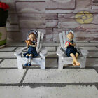 "Tropical Nautical decor(4.3""tall)Girl & Boy Sitting In Beach Chair FIGURINE SZ32"