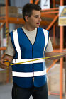 HI VISIBILITY VIZ WAISTCOAT VEST JACKET ROYAL BLUE xs upto 4xl