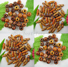 Free Ship Lot Of 100pcs Mixed Round & Oval Charms Wood Beads Many Sizes & Shapes