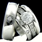 New 4 PCS Womans Engagement Stainless Steel & Mans Wedding Bridal Band Ring Set