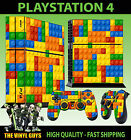 PLAYSTATION 4 CONSOLE SKIN TOY BRICK WALL BUILDING BLOCK GRAPHIC & 2 PAD SKINS
