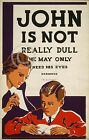 1936 JOHN IS NOT REALLY DULL EYE CHART POSTER WPA MEDICAL VINTAGE Largest Sizes