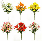 Artificial Flowers Lily / Lillies and Grass 35cm 6 Head Bunch Memorial Home