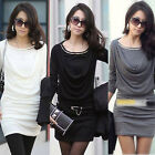 Fashion Women Sexy Long Sleeve Round Neck Slim Fit Dress Casual OL Mini Dress