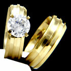 New 2 PC Stainless Steel Womens Engagement Wedding Bridal Band Ring Set