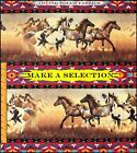 SOUTHWEST DESIGN HORSES STRIPES FAUX STITCH-WORK FABRIC  (MAKE A SELECTION)