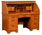 Amish Mission Rolltop Desk Computer Home Office Furniture Solid Wood New