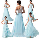 SUPERB One shoulder Beaded  2014 Long Chiffon Ball Gown Evening Prom Party Dress